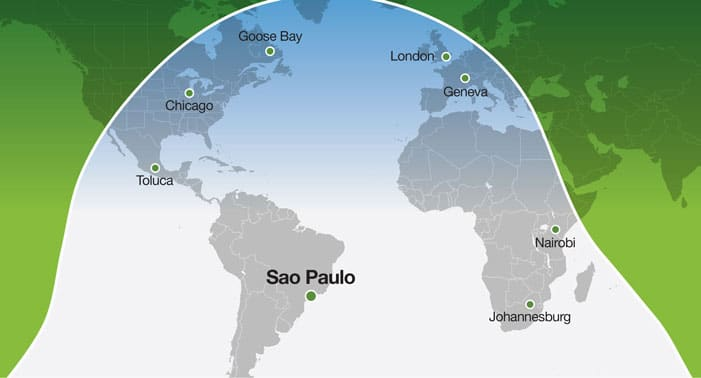 Range from Sao Paulo with 8 Pax, 3 crew at M .80 - Standard Aircraft / 85% Boeing Annual Wind Reliability, NBAA-IFR Reserves